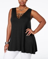 American Rag Plus Size Sleeveless Crisscross Top Only At Macy's Classic Black