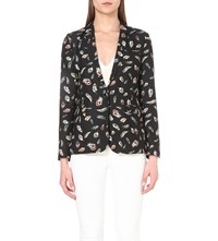 The Kooples Feather Print Blazer Black