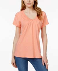 Jm Collection Short Sleeve V Neck Crochet Trim Top Only At Macy's