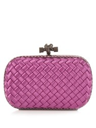 Bottega Veneta Knot Satin And Water Snake Clutch Pink