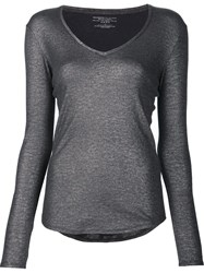 Majestic Filatures V Neck Fine Knit Jumper Grey