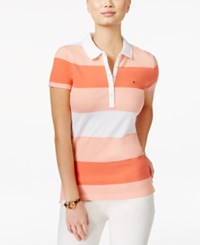 Tommy Hilfiger Striped Polo Top White Peach Coral