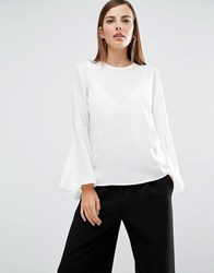 Selected Bell Sleeve Top White