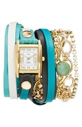 La Mer Women's Collections Leather And Chain Wrap Bracelet Watch 28Mm Turquoise Gold