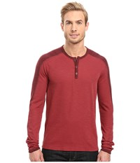 Agave Calico Long Sleeve Slub Color Block Rosewood Men's Long Sleeve Pullover Red