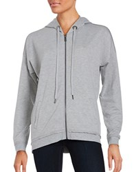Nanette Lepore Laceback Zip Front Hoodie Grey Heather