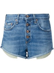 Rag And Bone Button Down Denim Shorts Blue