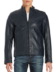 Calvin Klein Faux Leather Jacket Officer Navy