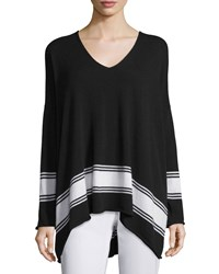 Eskandar V Neck Striped Cashmere Sweater Black White Size 4