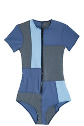 Lisa Marie Fernandez Patchwork Swimsuit Blue