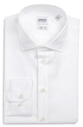 Armani Collezioni Men's Big And Tall Slim Fit Stretch Solid Dress Shirt Solid White