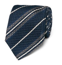 Kingsman Drake's Striped Woven Silk Tie Blue