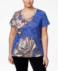 Inc International Concepts Plus Size Short Sleeve Floral Printed T Shirt Only At Macy's Egyptian Blue