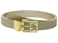 Michael Michael Kors 25Mm Reversible Saffiano To Jet Set Embossed Logo Belt On Cut Out Mk Logo Buckle Gold Rose Gold Women's Belts