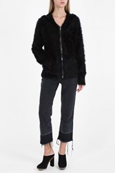 Rta Denim Estelle Fuzzy Hooded Top Black
