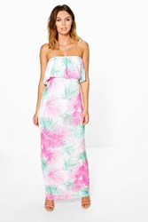 Boohoo Bandeau Detail Printed Maxi Dress Multi