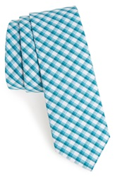 1901 'Memphis' Check Cotton Tie Turquoise