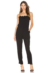 Greylin Alina Lace Trimmed Jumpsuit Black