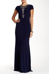 Js Boutique Embellished Accent Gown Blue
