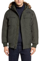 The North Face Men's 'Gotham Ii' Hooded Goose Down Jacket With Faux Fur Trim Climbing Ivy Green Heather