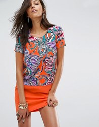 Versace Jeans Flower And Chain Print Shift Dress With Front Pocket E530 Multi