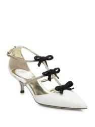Rene Caovilla Kurung Leather And Swarovski Crystal Bow Pumps White Black