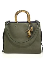 Coach Rogue Leather And Python Tote Tan Olive