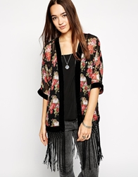 Parisian Rose Kimono With Velvet Border Black