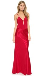 Mason By Michelle Mason Contrast Bias Gown Cranberry