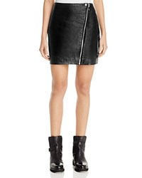 Aqua X Maddie And Tae Leather Zip Mini Skirt 100 Bloomingdale's Exclusive Black