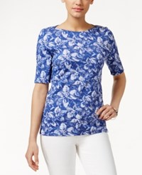 Charter Club Pima Cotton Boat Neck Tee Floral Print Blazing Blue