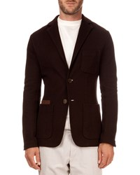 Berluti Pique Jacket With Suede Pocket Brown