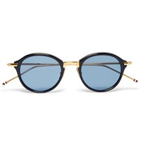 Thom Browne Round Frame Acetate And Gold Tone Sunglasses Navy