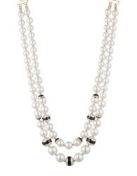 Anne Klein 8 Mm 10 Mm 12Mm Simulated Pearl Two Row Strand Goldtone Necklace
