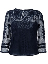 Red Valentino Embroidered Mesh Blouse Blue