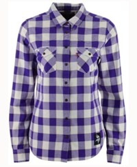 Levi's Women's Minnesota Vikings Plaid Button Up Woven Shirt Purple White