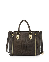 Charles Jourdan Oreet Snake Embossed Leather Tote Bag Black