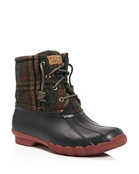 Sperry Saltwater Plaid Lace Up Rain Boots Brown Plaid