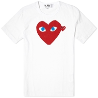Comme Des Garcons Play Double Heart Logo Tee White Red And Blue