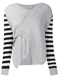 Preen By Thornton Bregazzi Striped Sleeve Jumper Grey