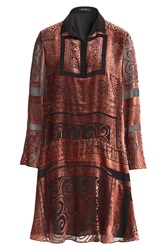 Etro Velvet Burnout Silk Dress Red