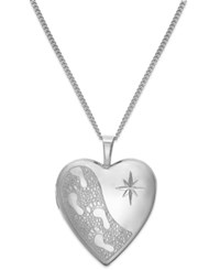 Macy's Footprints In The Sand Engraved Heart Locket Necklace In Sterling Silver