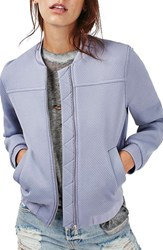 Topshop Women's Punch Texture Bomber Jacket Lilac