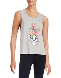 Betsey Johnson Floral Skull Tank Top Putty