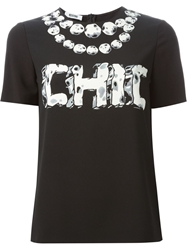 Moschino Cheap And Chic 'Chic' Beaded Necklace T Shirt Black