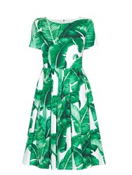 Dolce And Gabbana Banana Leaf Print Dress Green Multi