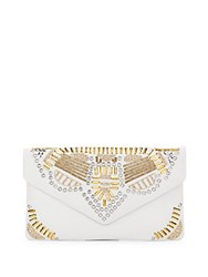 Ash Zuma Studded Leather Clutch Off White