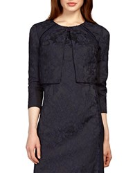 Kay Unger Jacquard Open Front Jacket Navy