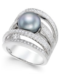Macy's Gray Cultured Freshwater Pearl 10Mm And Cubic Zirconia Multi Row Statement Ring In Sterling Silver
