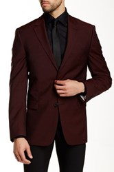 Ike Behar Pandora Solid Two Button Notch Lapel Wool Suit Separates Jacket Red
